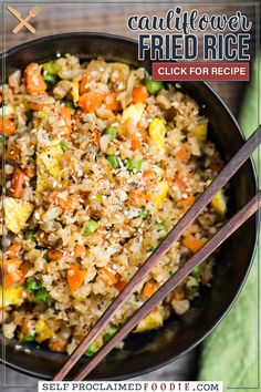 """Cauliflower Fried Rice is an easy to make a tasty, low carb meal packed with vitamins and flavor! This """"rice"""" is so good you won't even think you're eating healthy! Minced raw cauliflower is the perfect substitute for rice in this recipe."""