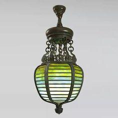 Tiffany Studios New York Bronze and Glass Lantern.