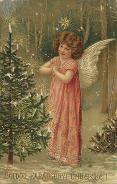 Hungarian Christmas angel &  tree, 1909 postcard