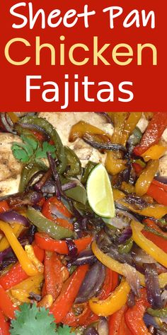 Weeknight Sheet Pan Chicken Fajitas are made with colorful peppers, red onions and chicken breasts, all spiced with our special chicken fajitas rub and then oven baked to perfection. Your whole family will love this easy weeknight chicken fajitas dinner! Chicken Fajita Recipe, Oven Chicken, Grilled Chicken Recipes, Baked Chicken Recipes, Chicken Fajitas Seasoning, Rotisserie Chicken, Easy Pasta Recipes, Easy Dinner Recipes, Yummy Recipes