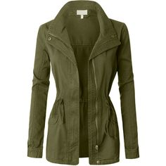 LE3NO Womens Military Anorak Jacket (€35) ❤ liked on Polyvore featuring outerwear, jackets, coats, green military jackets, green anorak, anorak jacket, military anorak jacket and green military style jacket