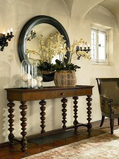 Beautiful entrance way table and decor!