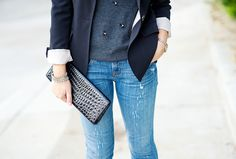 Blazer and distressed jeans- perfect! Kacee from Life with Lipstick On
