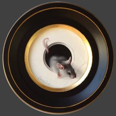 """Marina Dieul """" Petite souris 177 """" Oil, diameter 4 ''"""