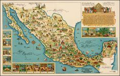 Pictorial Map of Mexico,1950