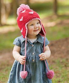 Love this Red & Pink Heart Pom-Pom Earflap Beanie by Princess Linens on #zulily! #zulilyfinds