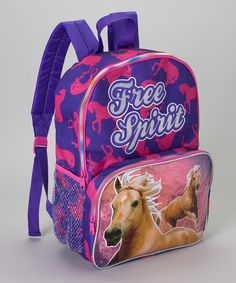 Look at this #zulilyfind! Pink & Purple 'Free Spirit' Horse Backpack by Global Design #zulilyfinds