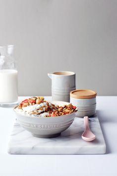 GIANT CAPPUCCINO MUG ::10cm jug :: Le Creuset Mist Grey (Recipe: Baked Muesli and Chia Yoghurt)