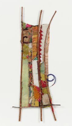 12 X 20; fabric, acrylic paints, stone, copper wire, sticks