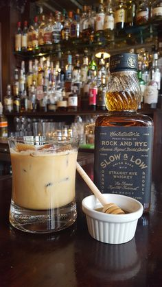 Giddy Up  3 oz. Hochstadter's Slow & Low Whiskey 6 oz. Iced coffee 2 oz. Heavy Cream 0.5 oz. John D Taylors Velvet Falernum Bar spoon of honey Dash of Bittercubes Blackstrap Bitters  Shake ingredients on ice and strain over coffee ice cubes.