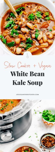 White Bean and Kale Soup (Vegan, Slow Cooker) This White Bean and Kale Soup is hearty & so incredibly easy to make! It's made in your slow cooker, and is loaded with flavour! Crock Pot Recipes, Sopa Crock Pot, Slow Cooker Recipes, Cooking Recipes, Oven Recipes, Easy Cooking, Cooking Tips, Easy Recipes, Delicious Vegan Recipes