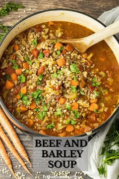 Beef and Barely Soup is a classic, comfort soup recipe made with ground beef, vegetables and simple spices. This Beef and Barley Soup recipe is a classic that has been in the Fam for generations. #soup #beefbarley #barley #beefsoup #vegetablebeefsoup #comfortfood #easymeal #dinnerideas #simplesoup