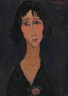 lawrenceleemagnuson:  Amedeo Modigliani (1884-1920) Jeune femme à la rose (Margherita) 1916oil on canvas 64.9 x 46.1 cm