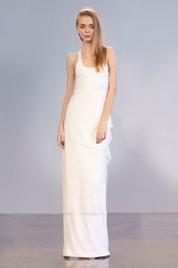 SHANICE: Racerback Gown In Mesh With  French Lace skirt and draped Bustle