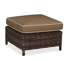 Torrey Sectional Ottoman Cushion Slipcover, Sunbrella(R) Contrast Piped, Mocha
