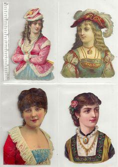 4 Album Scrap Die Cuts Women Head and Shoulders Full color Circa Head & Shoulders, Album Book, Die Cutting, Paper Dolls, Scrap, Princess Zelda, Cloaks, Writing, Ruler