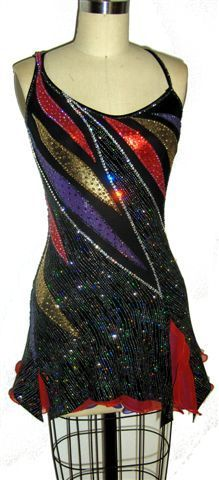 """Ice Skating dress custom made for competition """"Striking"""" by Zhanna Kens at http://www.ZhannaKens.com"""