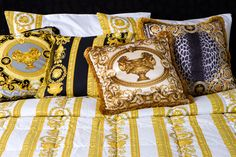 AMARA.COM, Versace, cushions, home accessories, yellow and black, versace cushions, designer, shop the look, stripes, bedding, shop the look