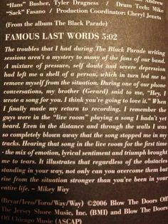 Famous Last Words.... Nononono, why must you rip out my heart like that!!! Help, I'm crying!
