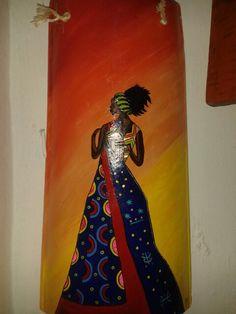 Africana en teja pintura de acrílico