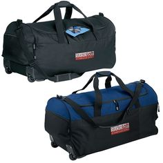 Traditional large duffle with wheels! This Wheeled Duffle with convenient pull handle, makes traveling easier! Made of polyester, this duffle bag features spacious main compartment with U-shaped.