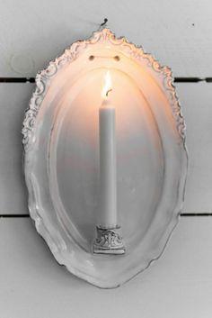 Platter + Candle Holder = Sconce