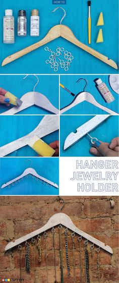 Wooden Hanger necklace storage (via I Spy DIY: [DIY Collaboration]) I would pry open the eye hooks to make it easier to get the necklaces on or off.