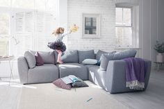 The Lounge Co. - Lottie Modular Sofa in Family Friendly Kaleidoscope Weave - Oyster Pearl #theloungeco #sofa #modular #modularsofa #grey #greysofa #family #familysofa #familyfriendly #aquaclean