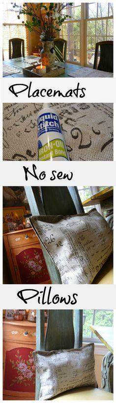 #diy no sew #placemat #pillows
