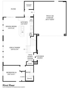 Toll Brothers Baker Ranch Parkview Redwood Floor Plan - First Floor