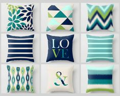 Throw Pillow Covers Pear Green Navy Teal Sapphire Aqua Sky BeigeTypography Art Contemporary Decor Throw Pillow Covers