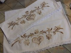 1 Pair of Vintage CrossStitched Pillow Cases by #PaulasVintageAttic, $14.00 Neutral heart pattern