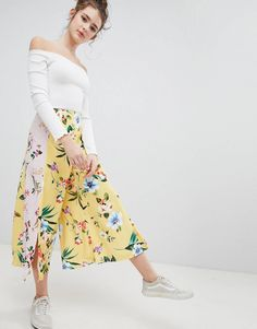 47bb5f31f5ef Bershka floral culotte in yellow