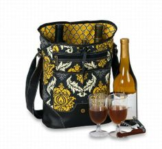 "Contemporary Wine & Beverage Insulated 2 Bottle Carrier - Provence Flair by CC Home Furnishings. $50.99. Item #PSM-228PFColor: Provence FlairFeatures:Contemporary take-a-long fully insulated tote holds 2 bottlesPerfect for grocery, beach or travelDimensions: 10""W x 5""D x 14""HIncludes:1 corkscrew/bottle opener/knife2 acrylic gobletsDecorating ideas you can do on your own: Bag can be screen printed or embroidered on the front panel 10""W x 5""H"