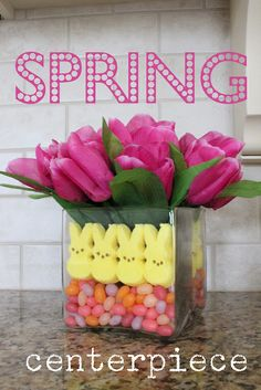 Marshmallow chicks mixing it up with tulips & beans--too cute!