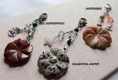 Dark red  peach  brown jasper gem flower zipper pulls