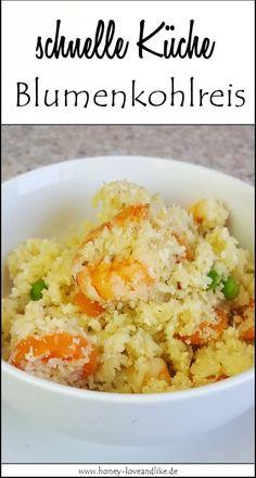 Mein Rezept, so geht es ganz einfach: Blumenkohlreis mit Garnelen und buntem Gemüse.
