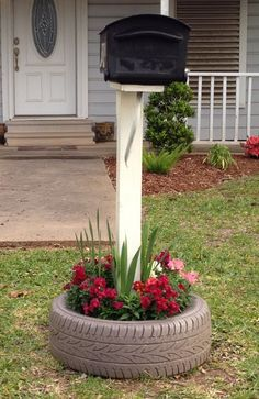 Mailbox tire planter
