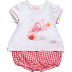 Mayoral baby girls two piece set comprising of a printed t-shirt with capped sleeves, shoulder poppers and a cute bird print on the front. On the reverse is fine cotton gauze insert pleat with red ribbon detail. The matching knicker shorts are in red and white checked gingham and have elasticated leg holes and waistband.<br /> <ul> <li>2 piece set</li> <li>95% cotton, 5% elastane (soft, stretch jersey)</li> <li>Shorts: 100% cotton (cool and crisp)</li> <li>Machine wash (30*C)</li> </ul>