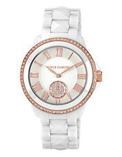 White ceramic pyramid link watch with rosegold tone bezel and crystals $259.87 SALE