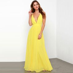 Like a sun drop, the Crossing Spaghetti Straps Elegant Chiffon Maxi Dress is made of nothing but happiness! Bright yellow chiffon shapes a pleated, low V neckline with adjustable spaghetti straps that Yellow Maxi Dress, Sexy Maxi Dress, Backless Maxi Dresses, Chiffon Maxi Dress, Beach Dresses, Sexy Dresses, Evening Dresses, Fashion Dresses, Prom Dresses