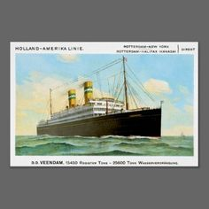 SS DD Veendam Holland Amerika Linie Vintage Passenger Ship Posters