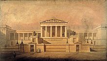 Thomas Hamilton's design for the Royal High School, Edinburgh, 1831. The main Neoclassical movement coincided with the 18th century Age of Enlightenment, and continued into the early 19th century, latterly competing with Romanticism. In architecture, the style continued throughout the 19th, 20th and up to the 21st century.
