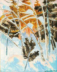 Reidar Särestöniemi, WINTER LANDSCAPE Landscape Paintings, Landscapes, Birches, Nordic Art, Through The Looking Glass, Life Is An Adventure, Winter Landscape, Reggio, Winter Time