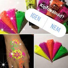 A fiatalok körében nagyon népszerű UV festékkel összekenni magukat egy bulira, hogy vagányul világítsanak a sötétben. Az összevissza mázolás helyett lehet szépséges henna mintákat is festeni UV testfestékkel. Henna, Candy, Blog, Hennas, Candy Bars, Sweets