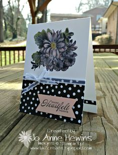 Today I have a card using the Sale-a-Bration stamp set Heartfelt Blooms. This is a CASE card, Copy and Share Everything. I cased this from page 29 of Stampin' Success Magazine. This is a publication sent to demonstrators. Of course I made a few changes. Here is my card. Start...