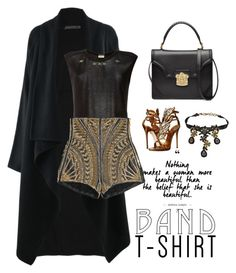 """""""Untitled #263"""" by choibimmie ❤ liked on Polyvore featuring Donna Karan, Giuseppe Zanotti, Yves Saint Laurent, Balmain, Christian Lacroix, Alexander McQueen, bandtshirt and bandtee"""