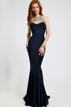 Jovani 98048 Cutout Back Lace Yoke Mermaid Silhouette. #jovani #promdress #prom Buy your Jovani Prom Dress from madamebridal.com