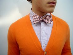 just the bowtie  ...orange sweater is a bit much for this look I think
