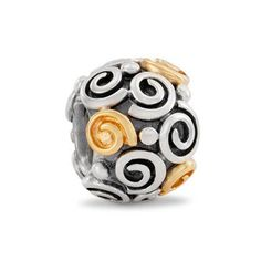 Pandora Sterling Silver and 14ct Gold Swirl Charm 790414